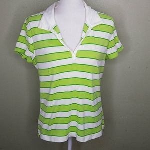 Tommy Hilfiger Green Striped Collared Polo L